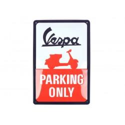 """Chapa de publicidad Vespa """"Parking only"""", 20x30cm"""