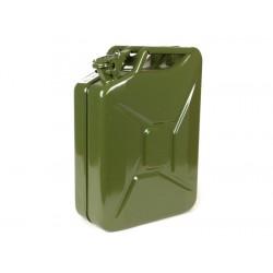 Bidón de gasolina 20 litros, verde oliva, fabricado en acero de 0,8mm de espesor, con certificado TÜV válido en toda Europa