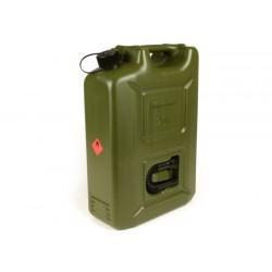 Bidón de gasolina 20 litros, verde oliva, polietileno de alta densidad, con marca de homologación europea