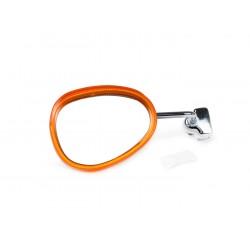 Espejo retrovisor bordón izquierdo blanco y naranja, 95x70mm, Vespa y Lambretta