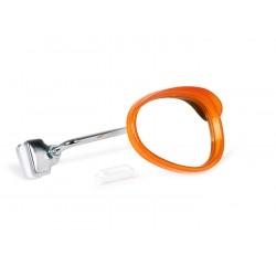 Espejo retrovisor bordón derecho blanco y naranja, 95x70mm, Vespa y Lambretta
