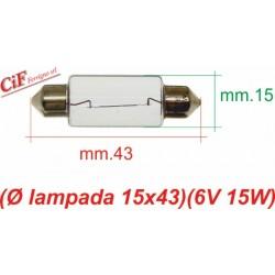 """Bombilla """"Siluro"""" 6V 15W 15x43mm"""