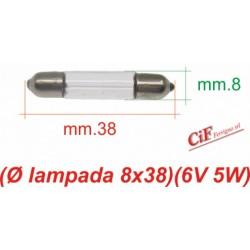 """Bombilla """"Siluro"""" 6V 5W 8x38 mm Luz Posicion Trasera Vespa Primavera Vespa 150/160"""
