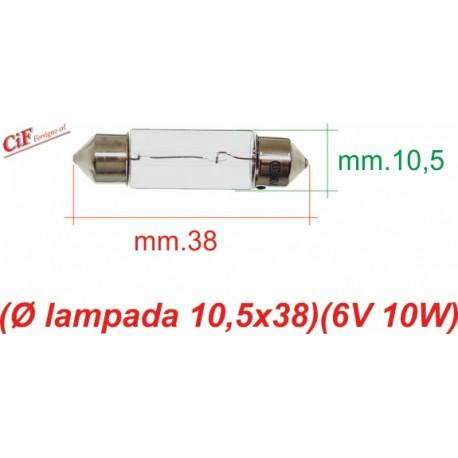 """Bombilla """"Siluro"""" 6V 10W 10,5x38 mm"""