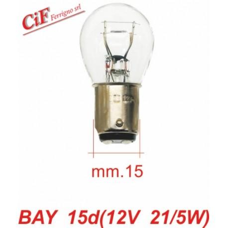 Bombilla BAY 15D 12V 21/5W Doble Filamento Posición y Stop Vespa Cosa
