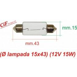 """Bombilla """"Siluro"""" 12V 15W 14x43 mm"""