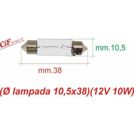 """Bombilla """"Siluro"""" 12V 10W 10,5x38 mm Genérica Luz de Posición y Stop"""