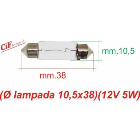 """Bombilla """"Siluro"""" 12V 5W 10,5x38 mm Genérica Luz de Posición y Stop"""
