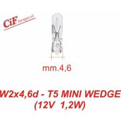 Bombilla Vidrio W2x4,6d-T5 mini 12 V 1,2W Vespa PK PX FL LML Star Vespa LX