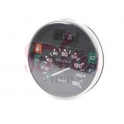 Cuentakilómetros Vespa IRIS, PK XL, PX Disco (primera serie). Cerquillo cromado y escala 160 km/h.