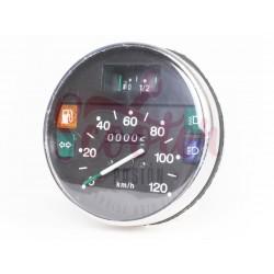 Cuentakilómetros Vespa IRIS, PK XL, PX Disco (primera serie). Cerquillo cromado y escala 120 km/h.