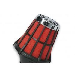 Filtro de Aire Racing Malossi, conexión recta 50x90mm, negro con filtro interior rojo
