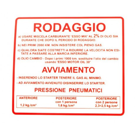 Pegatina Advertencia Rodaje Rojo