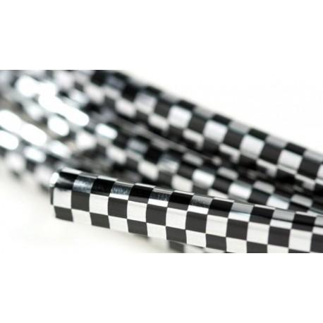 Bordón embellecedor carrocería en plástico cuadrados cromados y negros, 5 metros.
