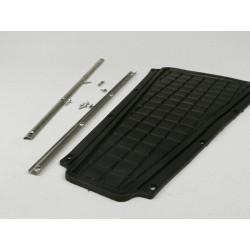 Kit alfombrilla central negra con guías de sujeción, Vespa CL, DS, DN