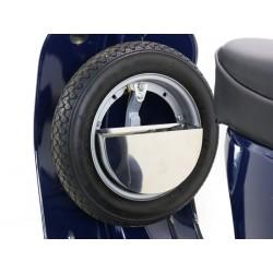 Caja de herramientas para rueda de repuesto detrás del escudo,Vespa Smallframe y Largeframe 10 pulgadas,acero inoxidable