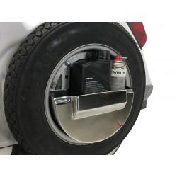 Caja herramientas para rueda de repuesto cofano, acero inoxidable